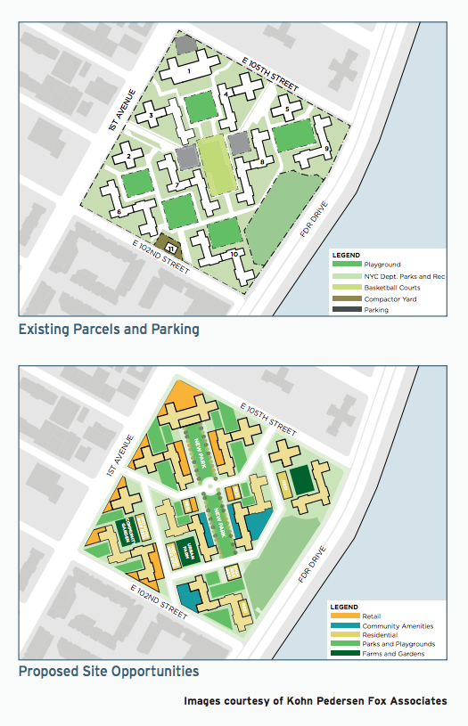 A conceptual plan for East River Houses would replace parking with new housing and retail. Image: NYCHA [PDF]