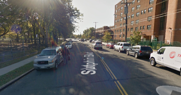 A driver fatally struck 8-year-old Sincere Atkins as he played outside his grandmother's apartment on Sutphin Boulevard. Image: Google Maps