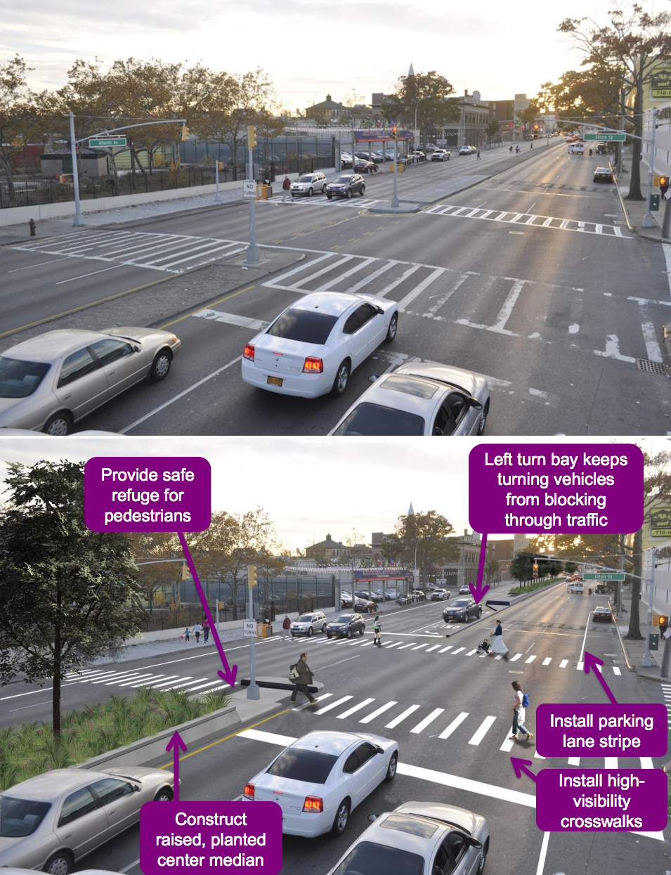 "This is one of the marquee Vision Zero projects under the ""Great Streets"" initiative. Image: DOT [PDF]"