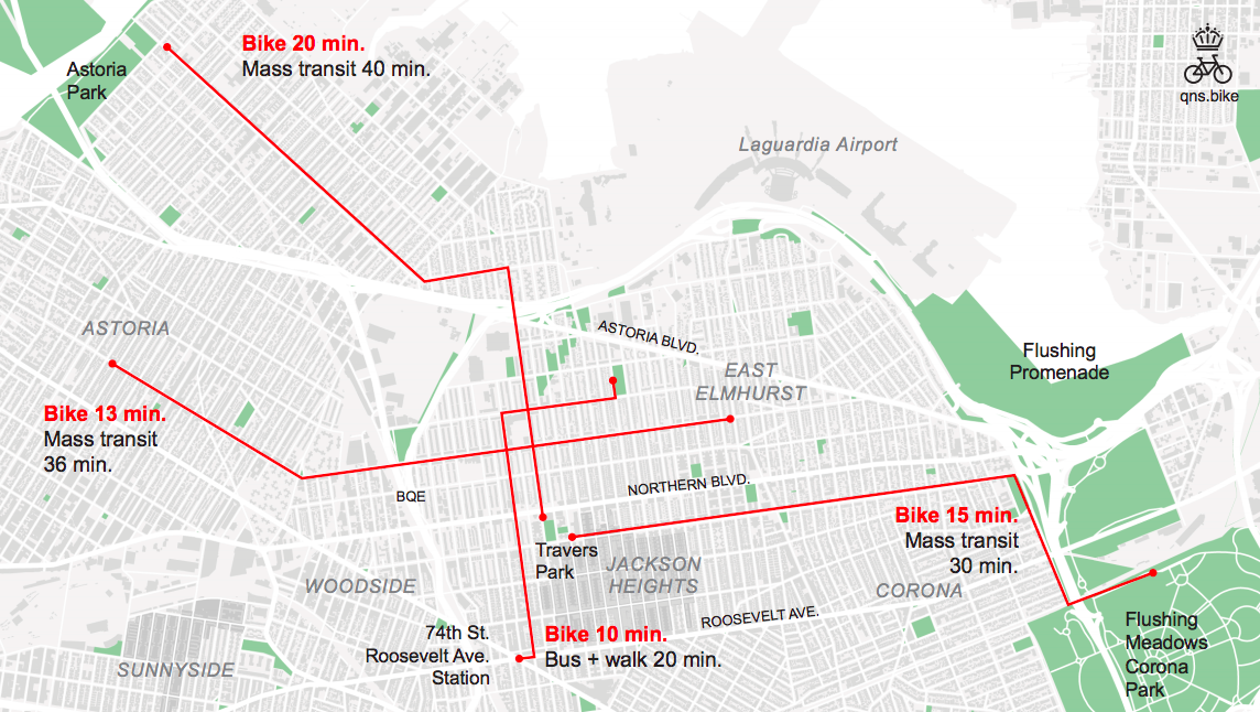 Getting to nearby parks from Jackson Heights is much faster by bike than it is by transit. Now, a group of local residents wants safer ways to make the journey. Map: Queens Bike Initiative