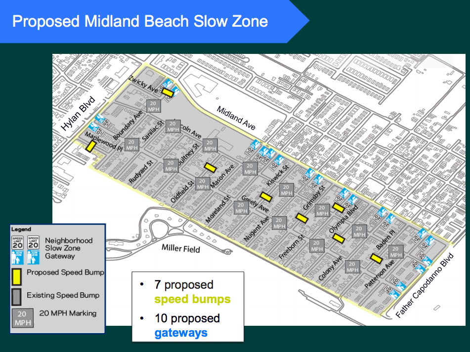 20 mph speed limits won't be coming to Midland Beach, but sped humps might. Image: DOT [PDF]