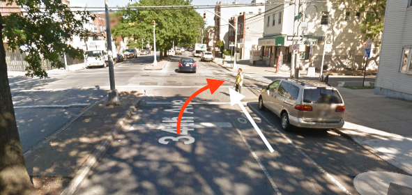 A cyclist in a marked bike lane was hit by a truck driver making a right turn at 34th Avenue and 105th Street in Queens, according to NYPD. Image: Google Maps