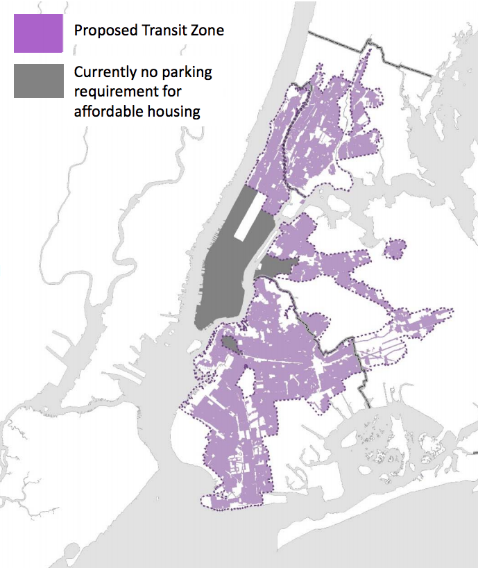"Parking requirements for affordable and senior housing have already been eliminated in the dark grey areas. Under the mayor's plan, they would also be eliminated in a new ""transit zone,"" shown in purple. Map: DCP [PDF]"