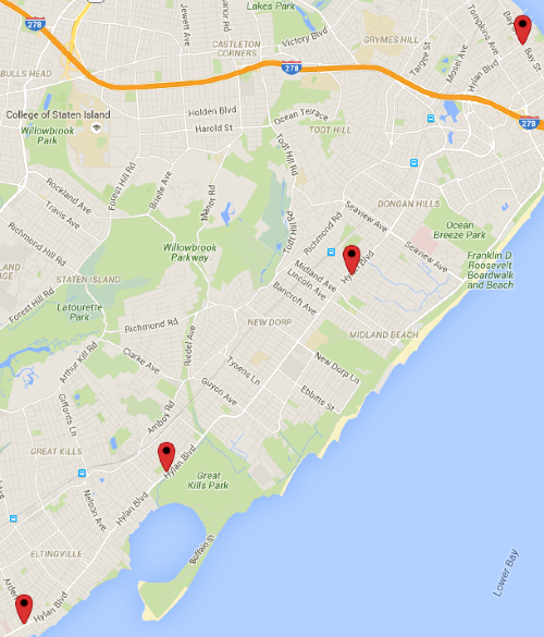 Locations where motorists have killed people walking and biking on Hylan Boulevard in 2015.