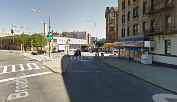 The Broadway-Sherman slip lane before the redesign. Image: Google Maps