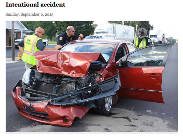 "Even when a motorist is accused of intentionally causing a crash, the press calls it an ""accident."" Advocates are hoping the Associated Press will help change that. Image: Shelbyville Times-Gazette"