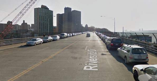 A DOT road diet for the Riverside Drive viaduct, where the majority of drivers speed, will keep two lanes for northbound drivers and will have no lanes for cyclists. Image: Google Maps