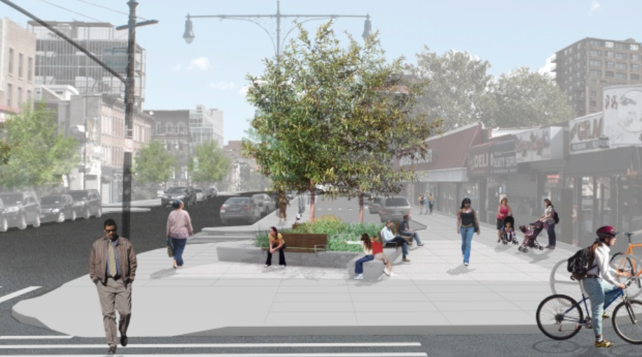 Part of the first round of DOT's NYC Plaza Program, the Myrtle Avenue Plaza will replace part of a service road with greenery and pedestrian space. Image: Myrtle Avenue Brooklyn Partnership