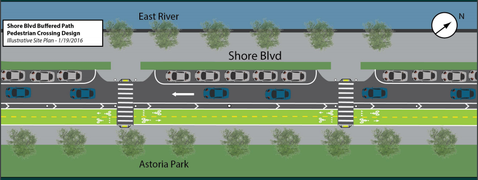 DOT wants to turn Shore Boulevard into a one-way street with a protected bike lane. Image: DOT