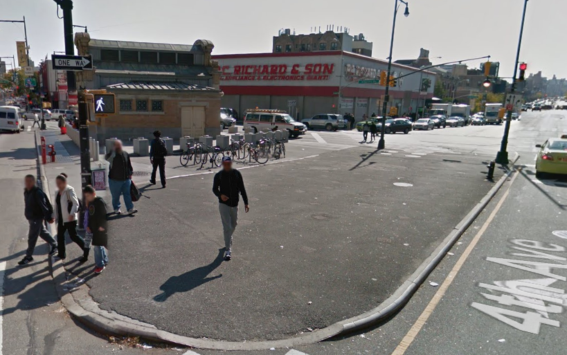 Forest City Ratner and DOT plan to turn Times Plaza by the Barclays Center into an attractive public space. Photo: Google Maps
