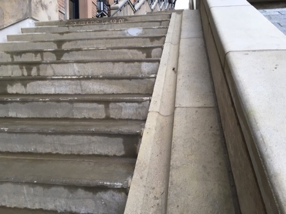 Each individual staircase, north and south, has a bike ramp.