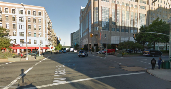 Though it has center islands, Broadway at W. 165th Street, where a driver killed Maria Minchala, is inhospitable to people on foot. Image: Google Maps