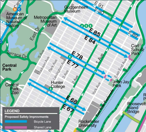 DOT wants to install three new crosstown dedicated bike routes on the Upper East Side [PDF]. Image: DOT