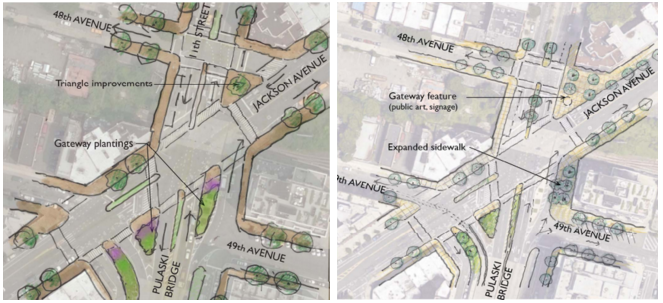 """Option 2"" for the Pulaski Bridge gateway, right, would provide pedestrians and cyclists more space and safer crossings. Image: DDC/DOT/Parsons"