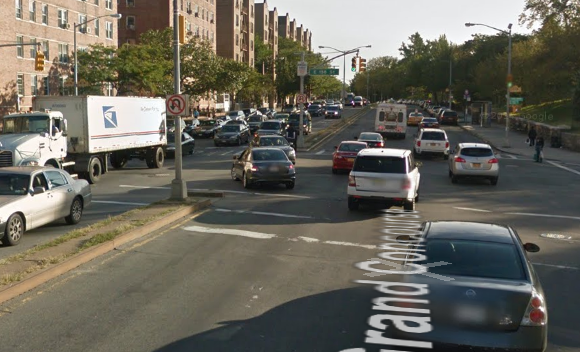 A cyclist was killed last year at the intersection of Grand Concourse and 158th Street, pictured, where there is currently no dedicate bike infrastructure. Photo: Google Maps