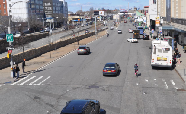 "The next phase of the city's Queens Boulevard ""Great Streets"" project includes this dangerous and chaotic block outside Queens Center Mall. Photo: DOT"