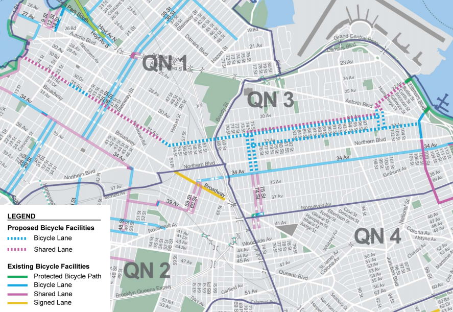 DOT's proposed 31st Avenue bike lane would connect the East River waterfront to the Flushing Bay Promenade. Image: DOT