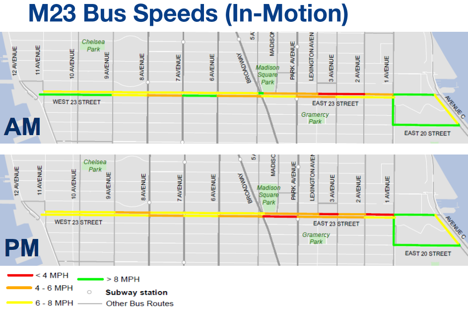 The new M23 Select Bus Service will speed up on the slowest bus routes in the city. Image: DOT/MTA