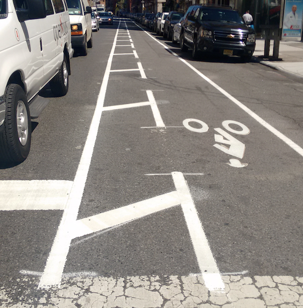 Not quite Kermit, but the Lafayette Street bike lane is looking quite fresh. Photo: David Meyer