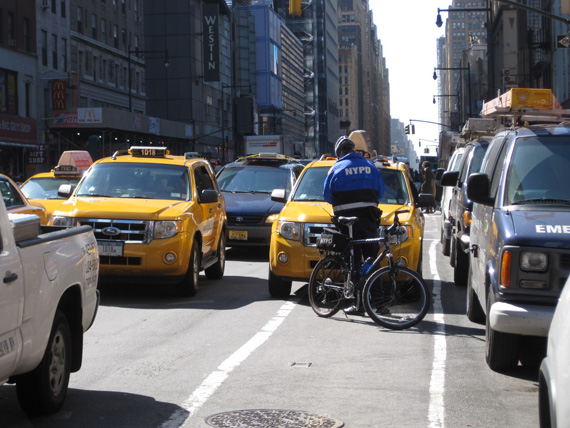 NYPD will target drivers who block bike lanes and other violations that put cyclists at risk through Friday, according to City Hall. Photo: Hilda Cohen
