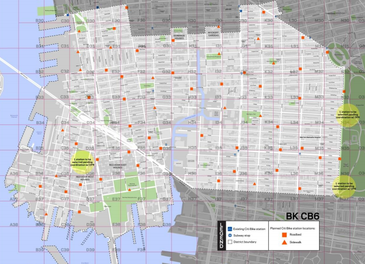 "Brooklyn CB 6 and other parts of the city where Citi Bike expansions have fallen short on standards for station density are in line for new ""infill"" stations. Image: DOT"