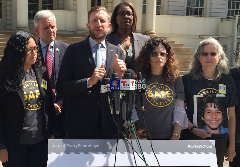 Council Majority Leader Jimmy Van Bramer standing in support of speed cameras at every school earlier this month alongside Transportation Alternatives' Paul Steely White and members of Families for Safe Streets. Photo: David Meyer