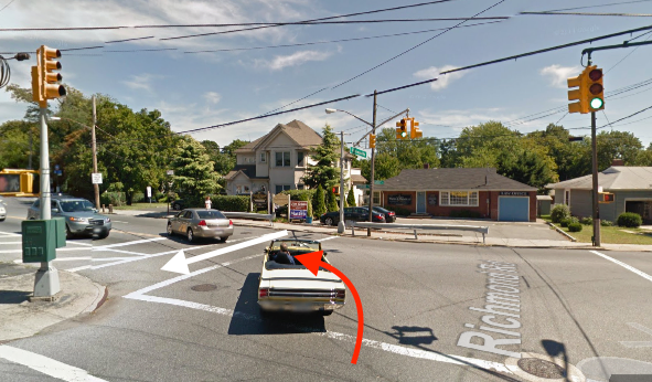 A driver killed Maria Serrano at Richmond Road and Amboy Road in Staten Island. The white arrow indicates the path of the victim, and the red arrow indicates the path of the driver. Image: Google Maps