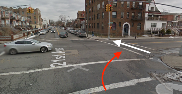 Cropsey Avenue and 21st Avenue in Brooklyn, where Alexander Smotritsky killed Xiali Yue with a car. The white arrow indicates the path of the victim, and the red arrow indicates the path of the driver. Image: Google Maps