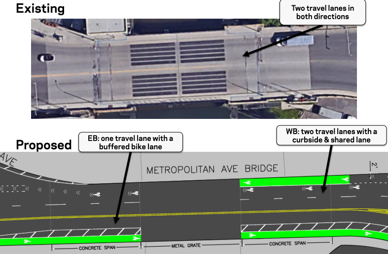 Bike lanes could soon be coming to the Metropolitan Avenue Bridge, which connects East Williamsburg and Ridgewood. Image: DOT