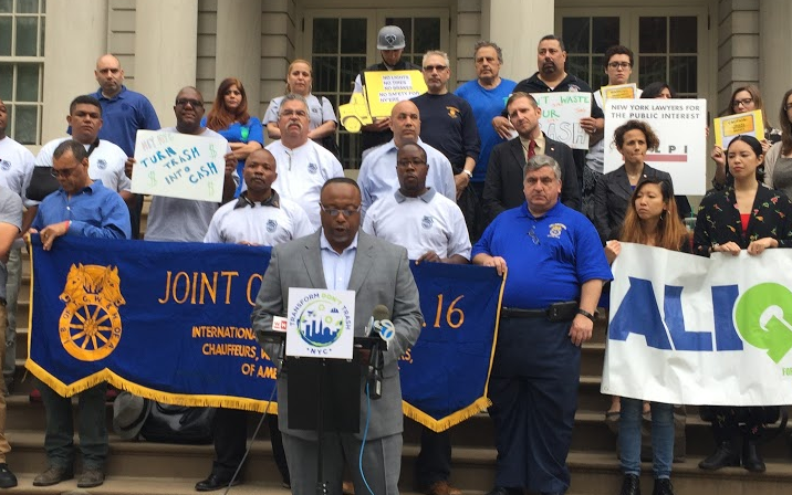 Teamster Local 813 President Sean Campbell speaks out against unsafe sanitation trucks. Photo: David Meyer