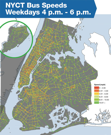 MTA bus time data allows the city to see the locations where bus routes are slowest. Image: DOT