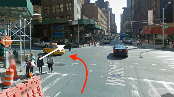 Po Chu Ng was killed on Sixth Avenue by a driver in an SUV with TLC plates as she crossed the street with the right of way. The driver was not charged. Image: Google Maps