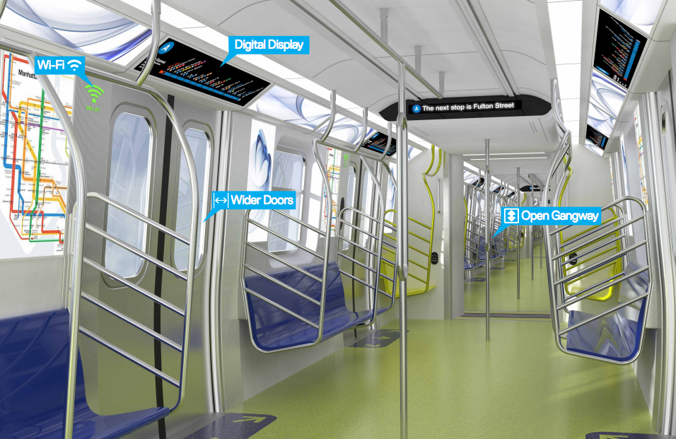 "Governor Cuomo and the MTA announced today that up to 750 of over one thousand new subway cars will have ""open gangway"" designs. Image: MTA/NY Governor's Office"