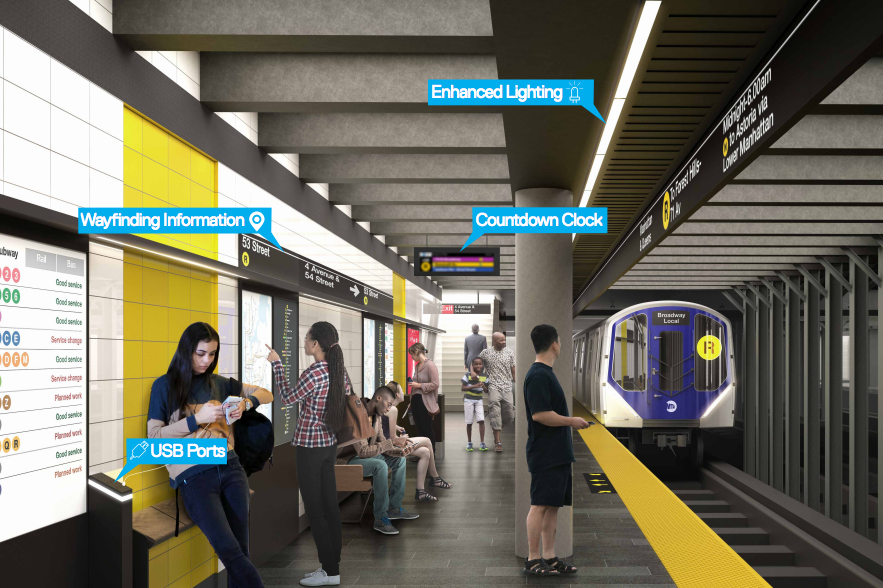 A rendering the new features coming to 31 subway stations in the coming years.