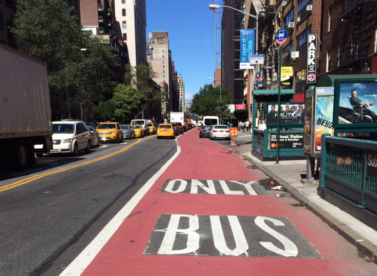 New dedicated bus lanes on 23rd Street, where Select Bus Service is set to launch in the fall. Photo: Stephen Miller