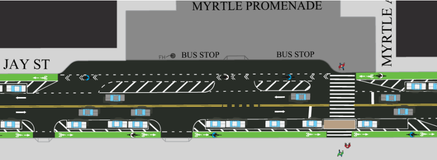 DOT did not include red lanes or flexible plastic posts in its original renderings of the Jay Street bike lane. Image: DOT