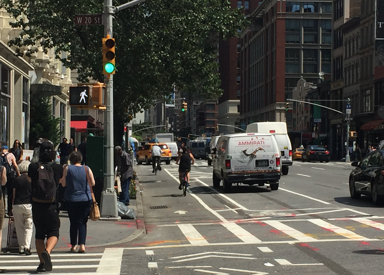 The Sixth Avenue protected bike lane was installed last month. Photo: David Meyer