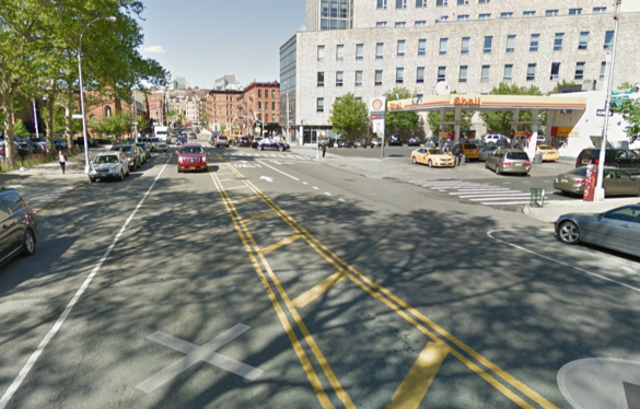 Morningside Avenue at 124th Street, where a driver fatally struck Barney Pinkney. Image: Google Maps