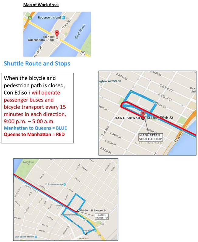 ConEd provides a shuttle bus service for people crossing the Queensboro Bridge after 9 p.m., but the wait times and circuitous route are frustrating bike commuters who depend on the bridge to get to and from work. Image: DOT