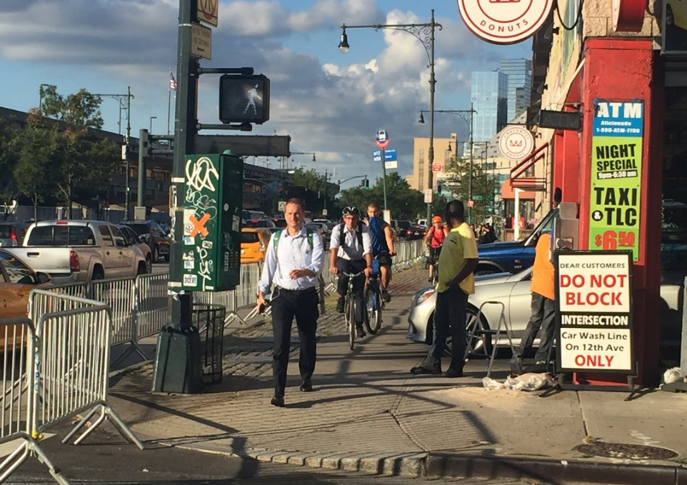 Biking on the West Side Highway sidewalk at 46th Street. Photo: David Meyer