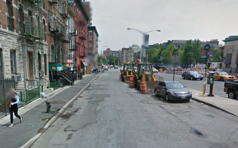 Before construction, the area was part of 1st Street. Pictured here in July 2012. Photo: Google Maps