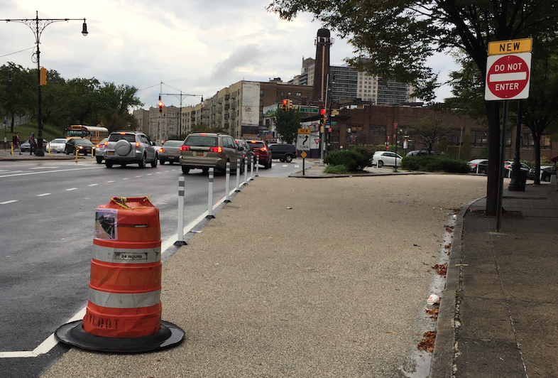DOT made safety improvements on the Grand Concourse below 158th Street earlier this year, including this closed-off slip lane outside Cardinal Hayes High School, but the project did not include any bike lanes. Image: DOT