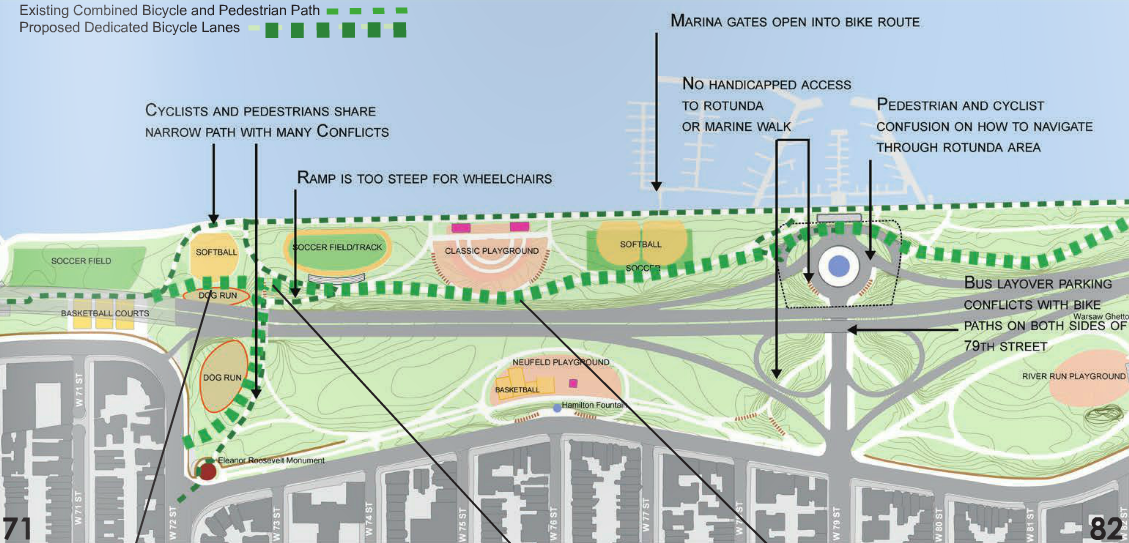 NYC Park wants to divert cyclists from the waterfront greenway to the hillier path marked by the bold dotted green line year-round. Image: NYC Parks