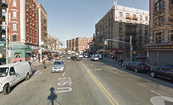Broadway and W. 180th Street, where an allegedly unlicensed driver killed Abrehet Hagos last weekend. Broadway above Columbus Circle is a Vision Zero priority corridor, but the city mainly relies on speed enforcement, which is sporadic, to keep people safe. Image: Google Maps