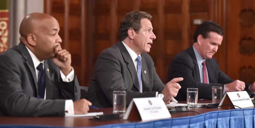 Republicans won an outright majority in the state senate yesterday, which means Senate Majority John Flanagan (far right) will keep his place at the decision making table with Assembly Speaker Carl Heastie and Governor Andrew Cuomo (left and center, respectively). Photo: Flickr/NY Governor's Office