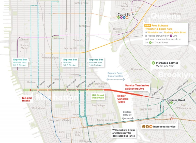 The Regional Plan Association is proposing a network of dedicated bus lanes to carry North Brooklynites to Manhattan's main job centers. Image: RPA