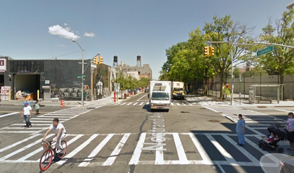 Nostrand Avenue at Myrtle Avenue, where a driver killed a 54-year-old man last night. Image: Google Maps
