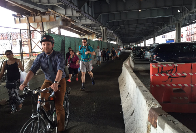 People biking and walking no longer have to share this narrow path just north of South Street Seaport. Photo: Jon Orcutt